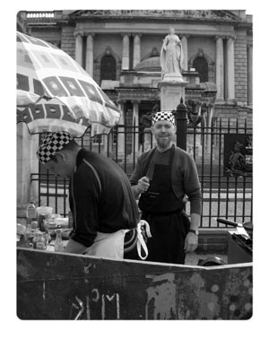 The Domestic Godless in a skip. Belfast. 2004
